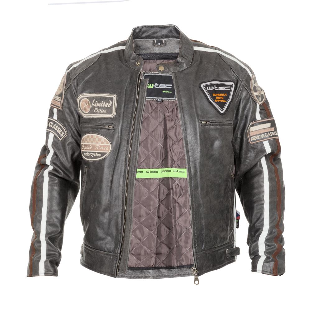 d8681c31ec28 Pánska kožená moto bunda W-TEC Antique Cracker - hnedo-šedá. Štýlová ...