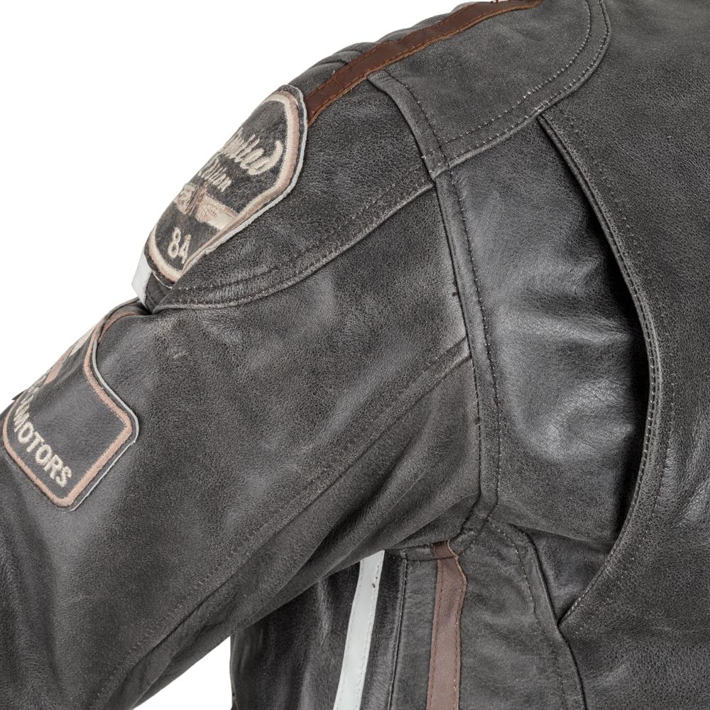 Pánska kožená moto bunda W-TEC Antique Cracker - hnedo-šedá. Štýlová ... ffa28860eed
