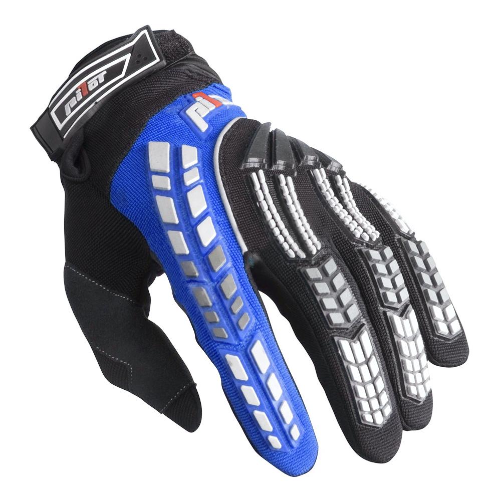 Detské motokrosové rukavice Pilot - čierno-modrá de36418570b