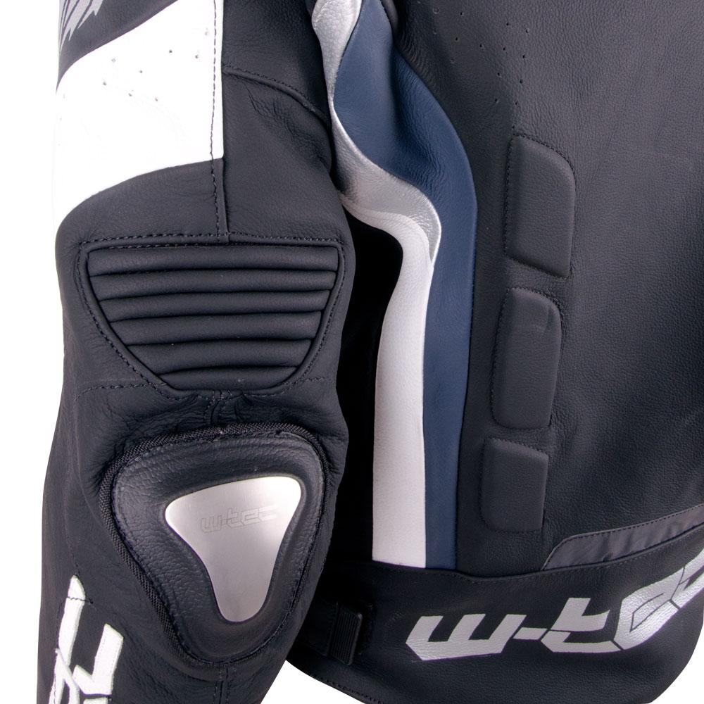 322f1f02fc6a Pánska kožená moto bunda W-TEC Velocity - čierno-modrá. Kožená bunda ...