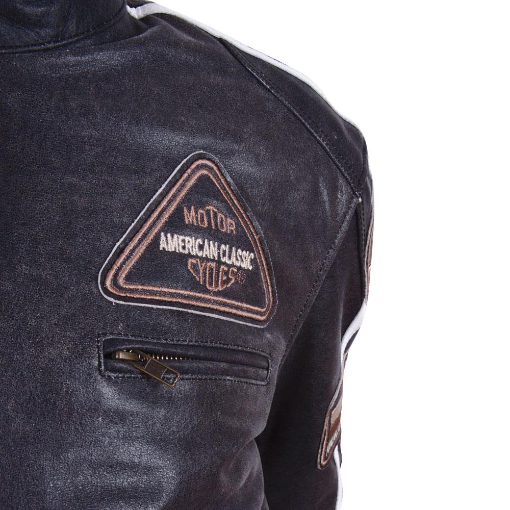 Kožená moto bunda BOS 2058 čierna - čierna. Kožená ... d9208fb15e4