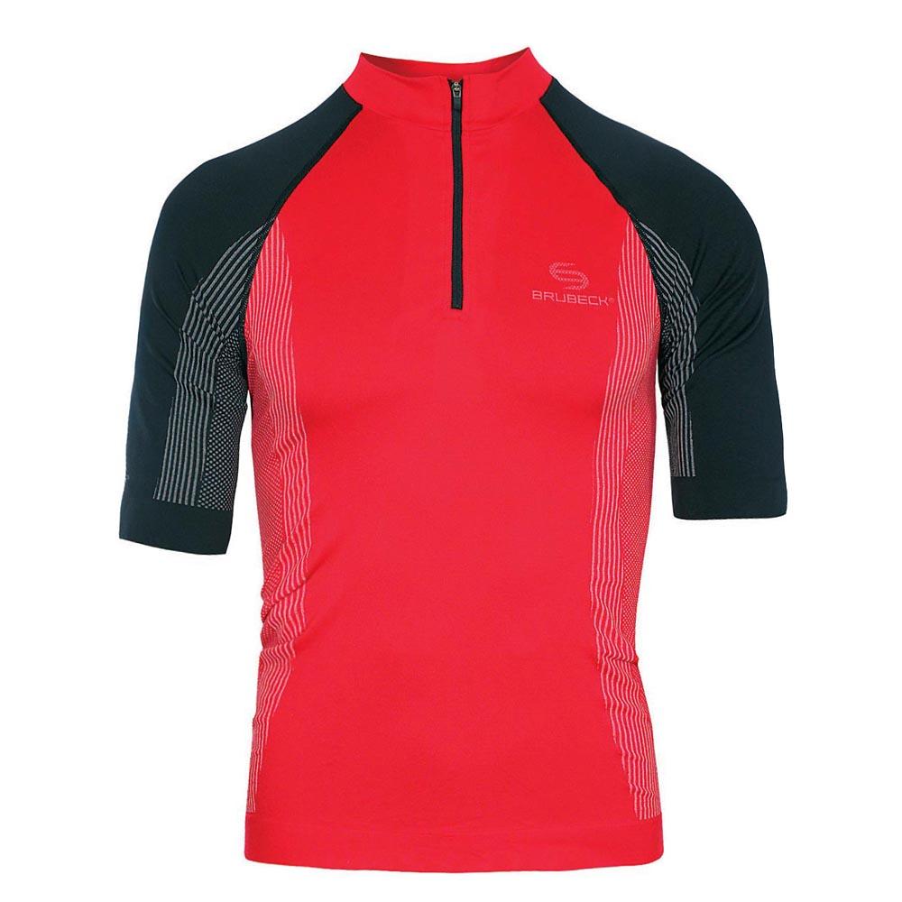 Pánske termo tričko Brubeck FIT s krátkym rukávom - červeno-čierna 4e5d5646395
