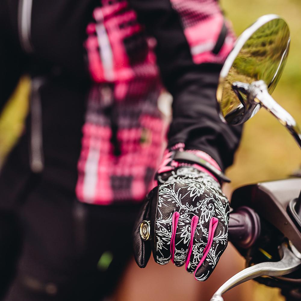 Dámske kožené moto rukavice W-TEC Malvenda NF-4208 - čierna s ružovou  grafikou. Skryté ... 995e7c1b2f