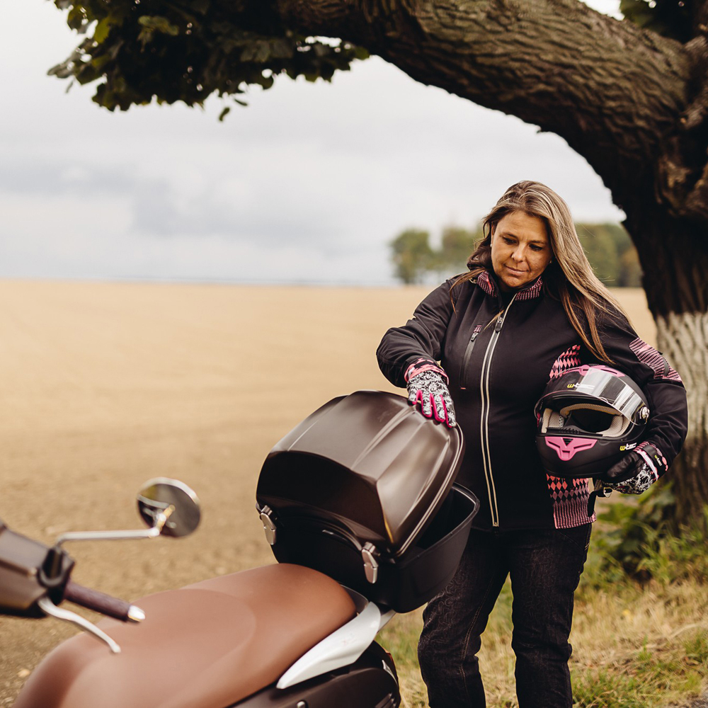 Dámske kožené moto rukavice W-TEC Malvenda NF-4208 - čierno-ružová. Skryté  ... 9cfff5fe87
