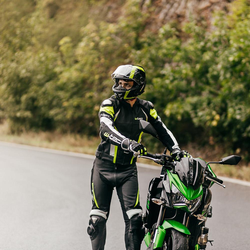 6a4b6ce463c0 Pánske kožené moto nohavice W-TEC Vector - čierna-fluo. Kožené nohavice ...