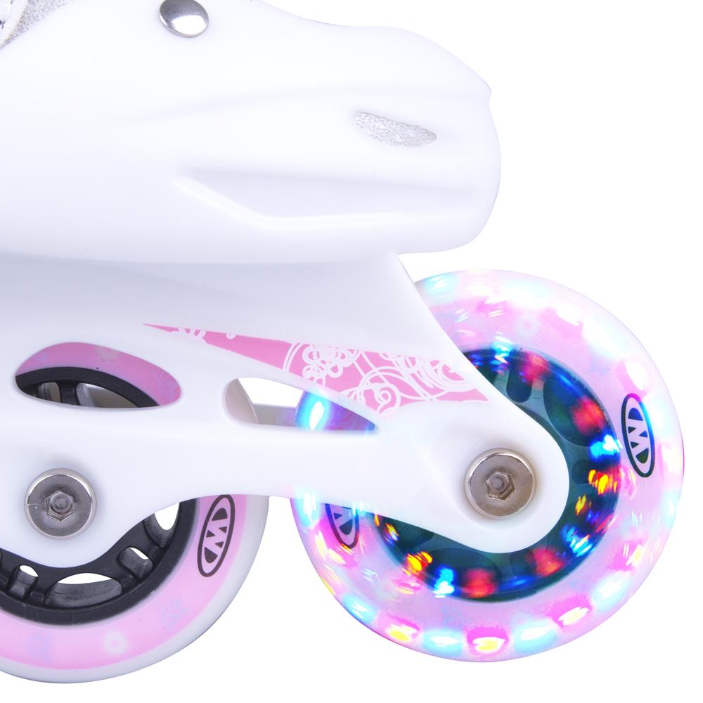 fbe1896bb Nastaviteľné detské kolieskové korčule so svietiacimi kolieskami,  MicroShift zapínanie, šnurovanie ...