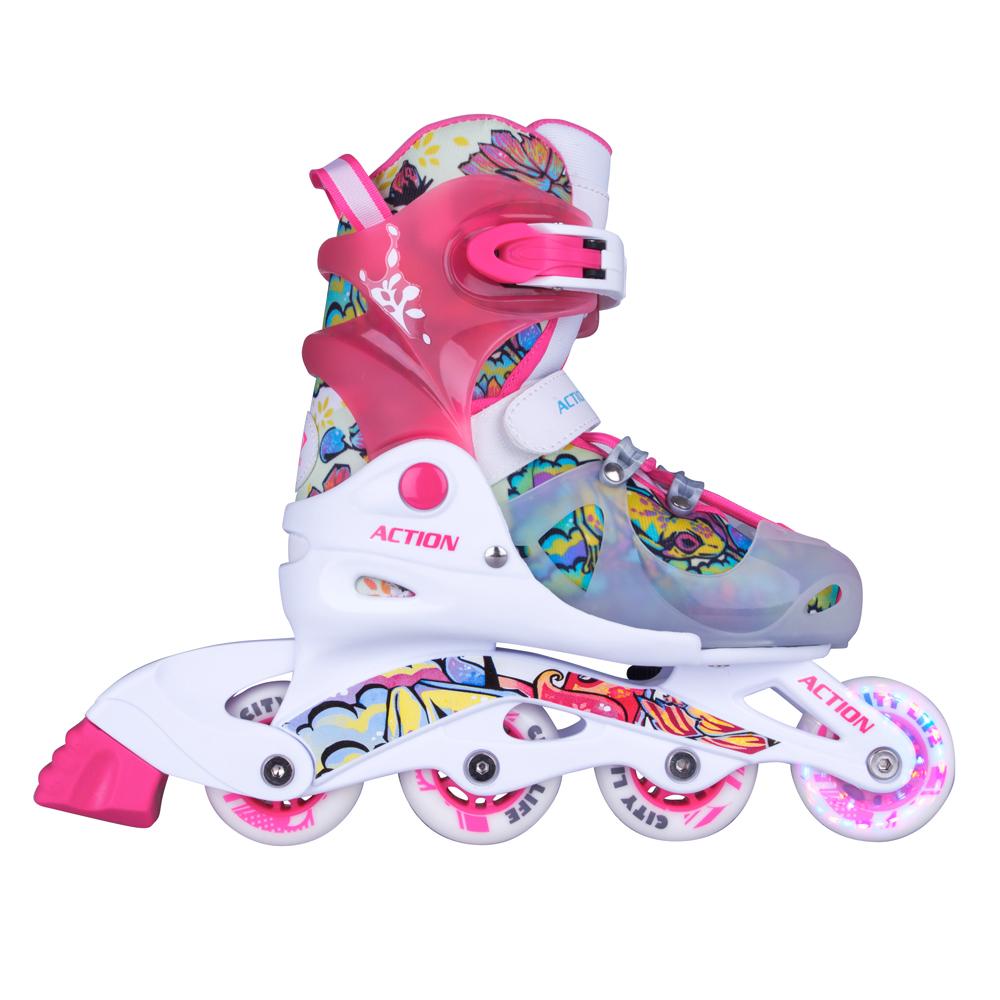 7a0bbac2c Detské nastaviteľné korčule Action Doly so svietiacimi kolieskami - ružová