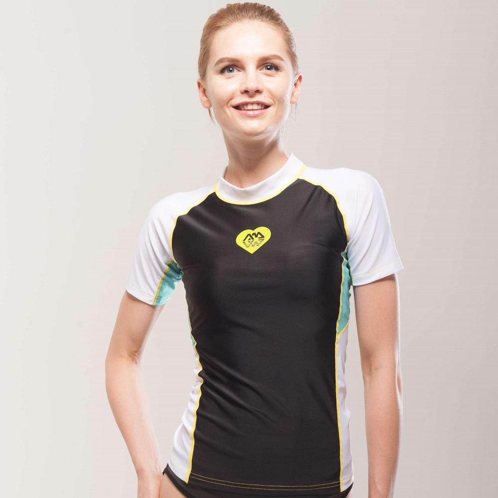 ce1c57c94cf36 Dámske tričko pre vodné športy Aqua Marina Alluv - čierno-biela. Elastický  materiál ...