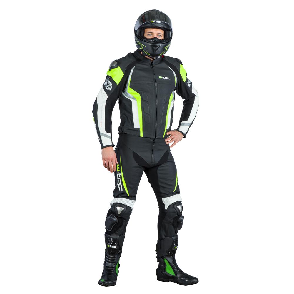 211b2398ed36 Pánska kožená moto bunda W-TEC Velocity - čierna-fluo. Kožená bunda ...