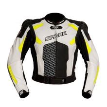 Pánska kožená moto bunda Spark ProComp - čierno-bielo-fluo 17b8f0b7566