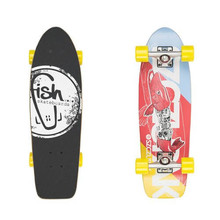 "Mini longboard Fish Old School Cruiser Szczupak 26"" - Silver-Yellow"