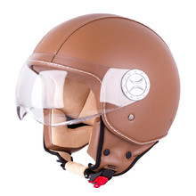 Helma na skúter W-TEC FS-701B Leather Brown - hnedá