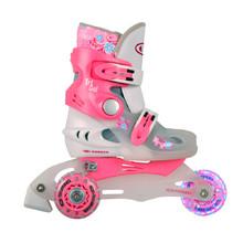 Detské kolieskové korčule WORKER TriGo Skate LED - so sv. kolieskami -  ružová 3ac41005444