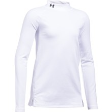 Dievčenské tričko Under Armour ColdGear Mock - White/White/Black