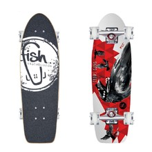 "Mini longboard Fish Old School Cruiser Crow 26"" - Silver-Transparent Red"