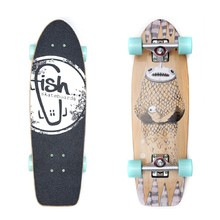"Mini longboard Fish Old School Cruiser Narwhal 26"" - Silver-Summer Green"