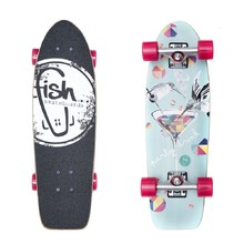 "Mini longboard Fish Old School Cruiser Party 26"" - Silver-Magenta"