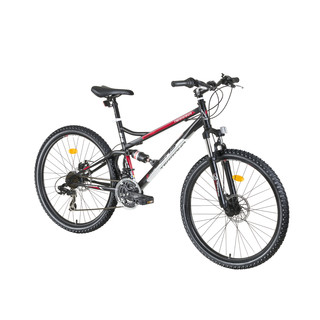 "Celoodpružený bicykel DHS Terrana 2645 26"" - model 2016 - Black-White-Red"