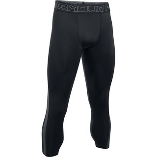 Pánske kompresné legíny Under Armour HG SuperVent 2.0 3/4 Legging - BLACK / STEALTH GRAY / GRAPHITE