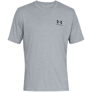 Pánske tričko Under Armour Sportstyle Left Chest SS - Steel Light Heather/Black