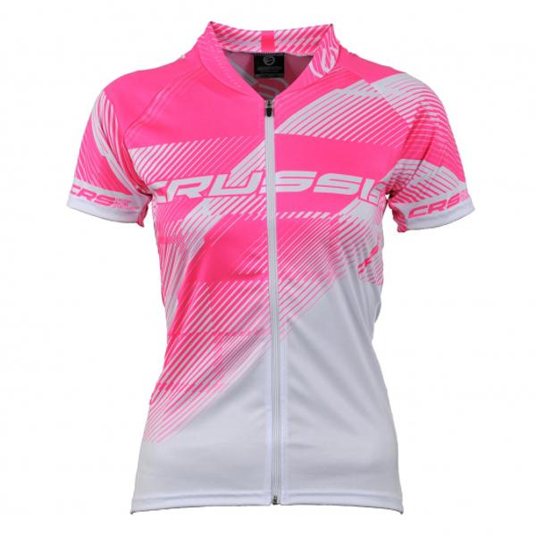 Dámsky cyklistický dres Crussis bielo-ružová - XL