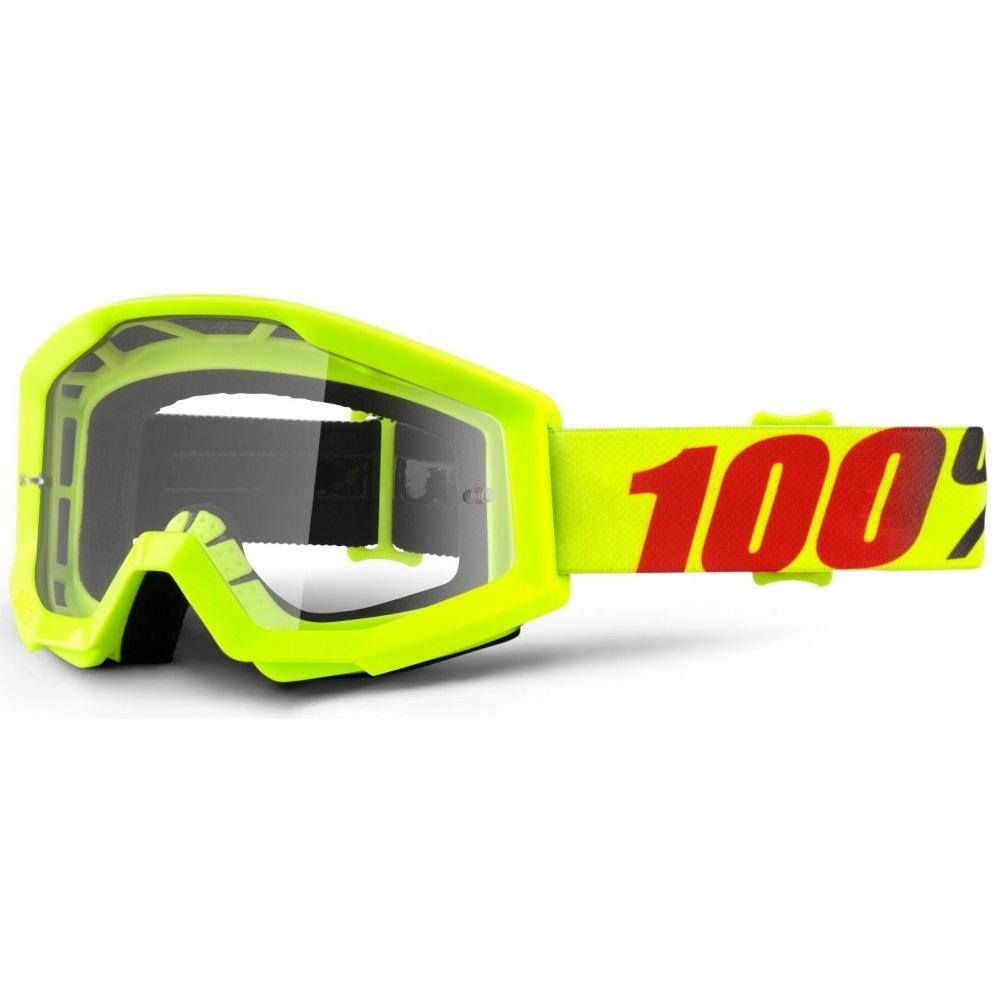 Motokrosové okuliare 100% Strata Mercury fluo žltá, číre plexi s čapmi pre trhačky