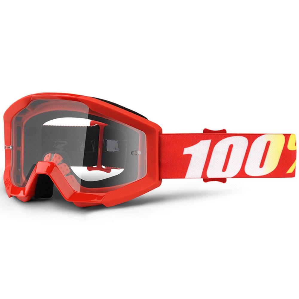 Motokrosové okuliare 100% Strata Furnace červená, číre plexi s čapmi pre trhačky