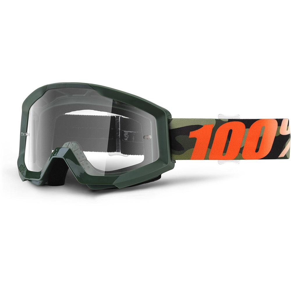 Motokrosové okuliare 100% Strata Huntitistan tmavo zelená, číre plexi s čapmi pre trhačky