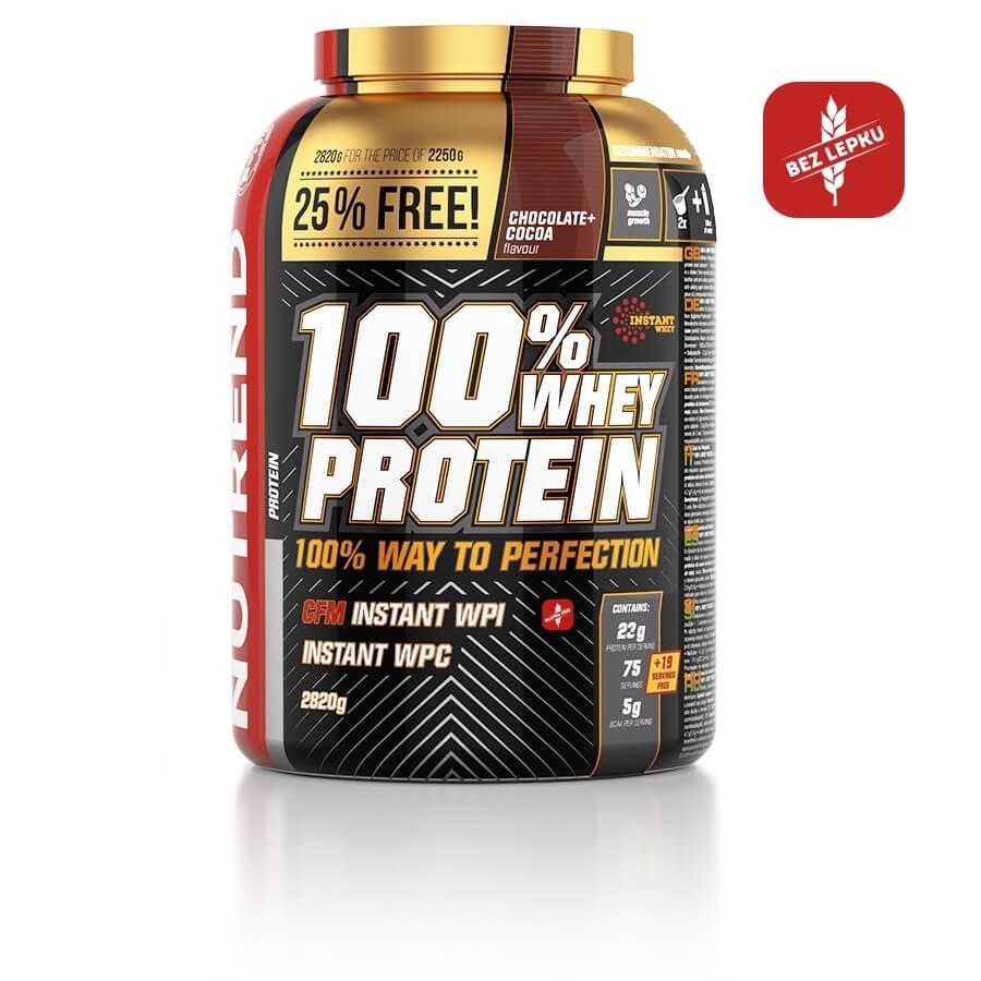 Práškový koncentrát Nutrend 100% WHEY Protein 2820g čokoláda-kakao