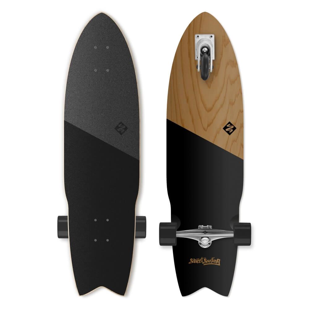 "Longboard Street Surfing Shark Attack Koa Black 36"""