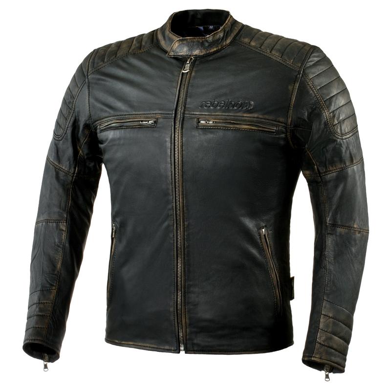 Kožená moto bunda Rebelhorn Hunter Black - 3XL