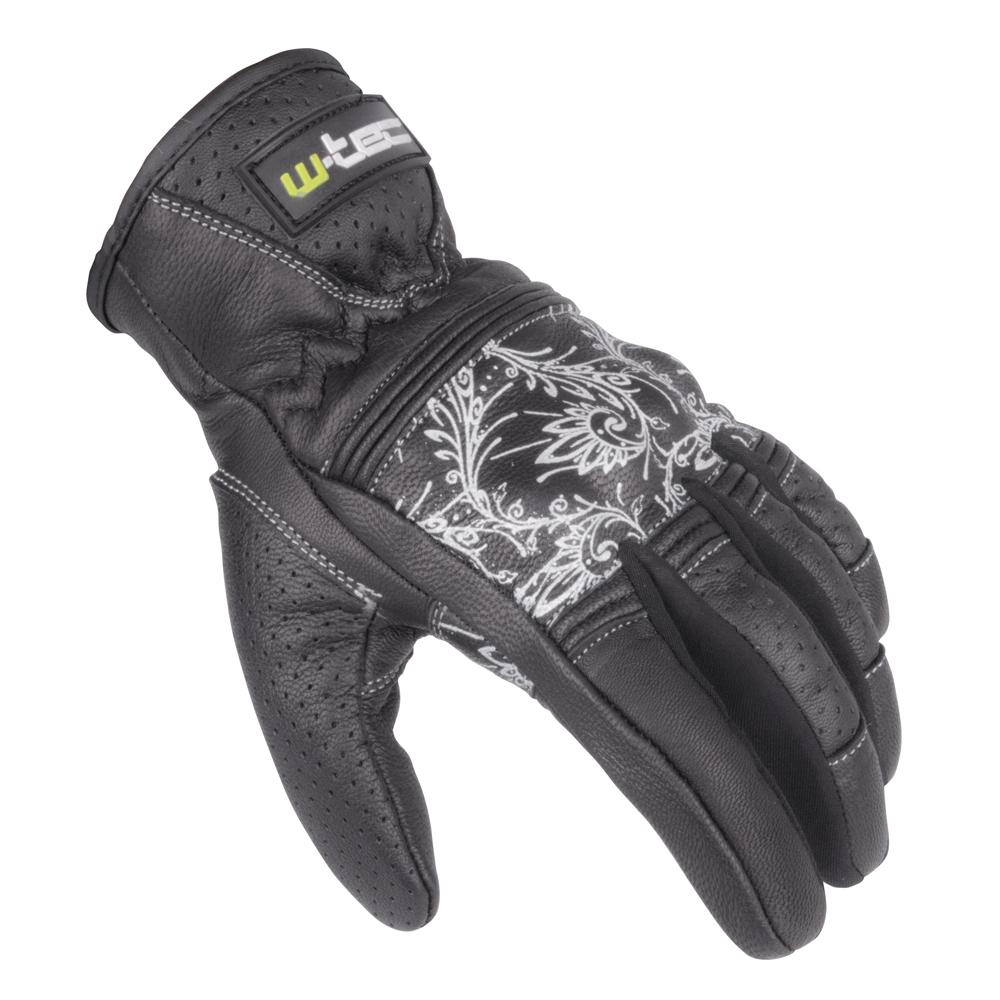 Dámske kožené moto rukavice W-TEC Polcique NF-4206 čierno-biela - XXL