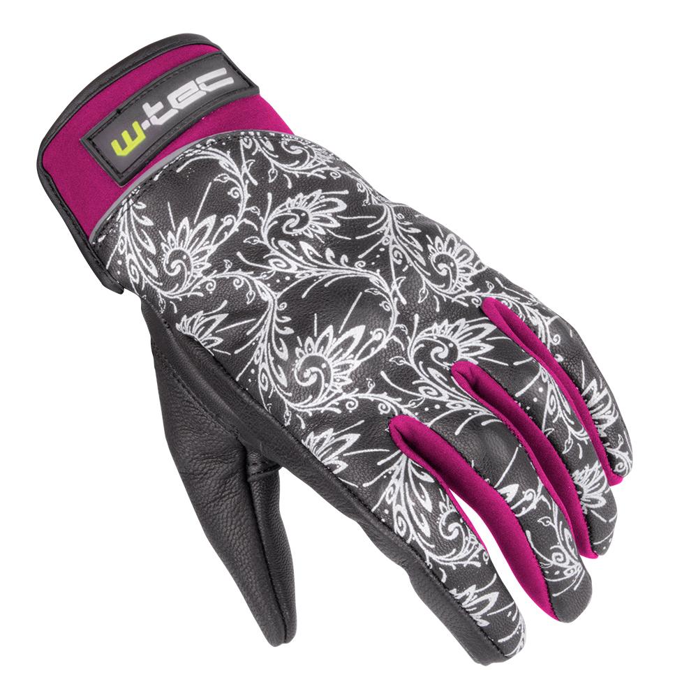 Dámske kožené moto rukavice W-TEC Malvenda NF-4208 čierno-ružová - XS