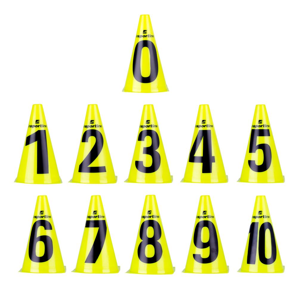 Plastové kužele inSPORTline Numeric 23cm