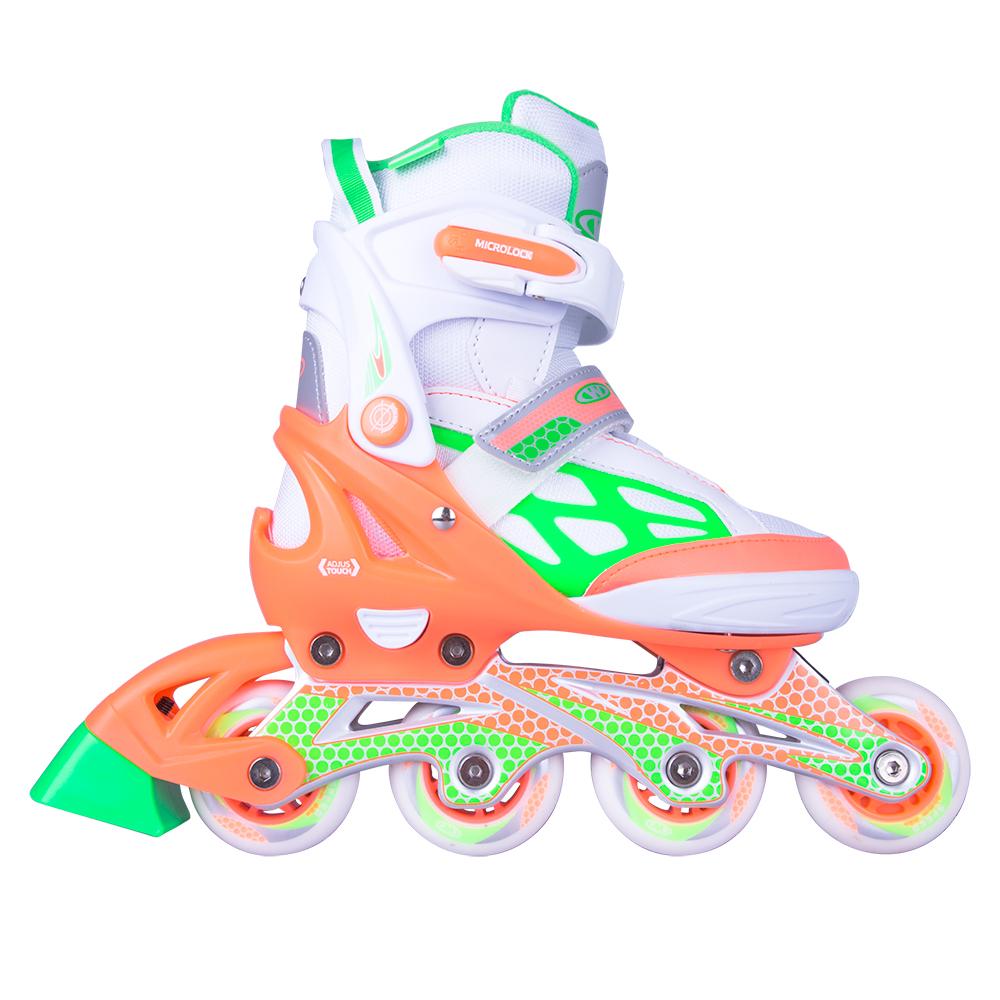 Nastaviteľné kolieskové korčule WORKER Nubila oranžovo-zeleno-biela - M (37-40)