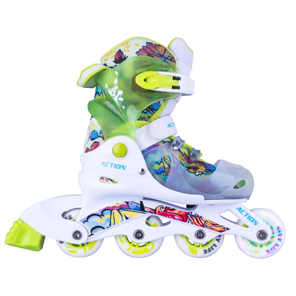 Detské nastaviteľné korčule Action Doly so svietiacimi kolieskami zelená - S 30-33