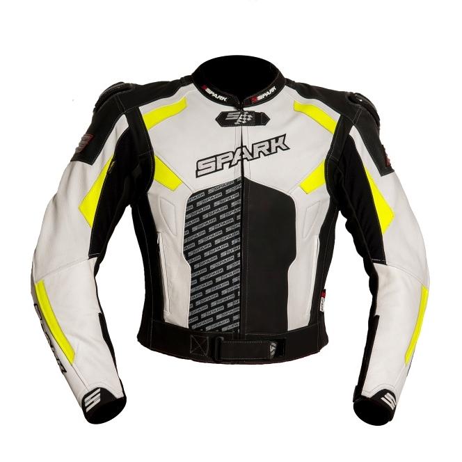 Pánska kožená moto bunda Spark ProComp čierno-bielo-fluo - S