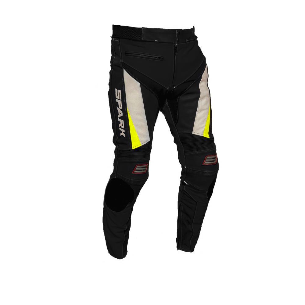 Pánske kožené moto nohavice Spark ProComp čierno-bielo-fluo - 3XL