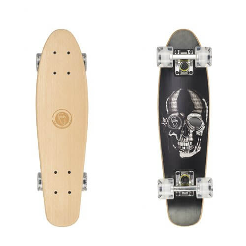 "Drevený pennyboard Fish Classic Wood 22"" Black Skull-Silver-Transparent White"