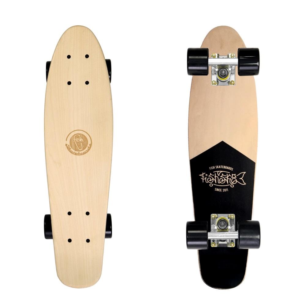 "Drevený pennyboard Fish Classic Wood 22"" Coffin-Silver-Black"