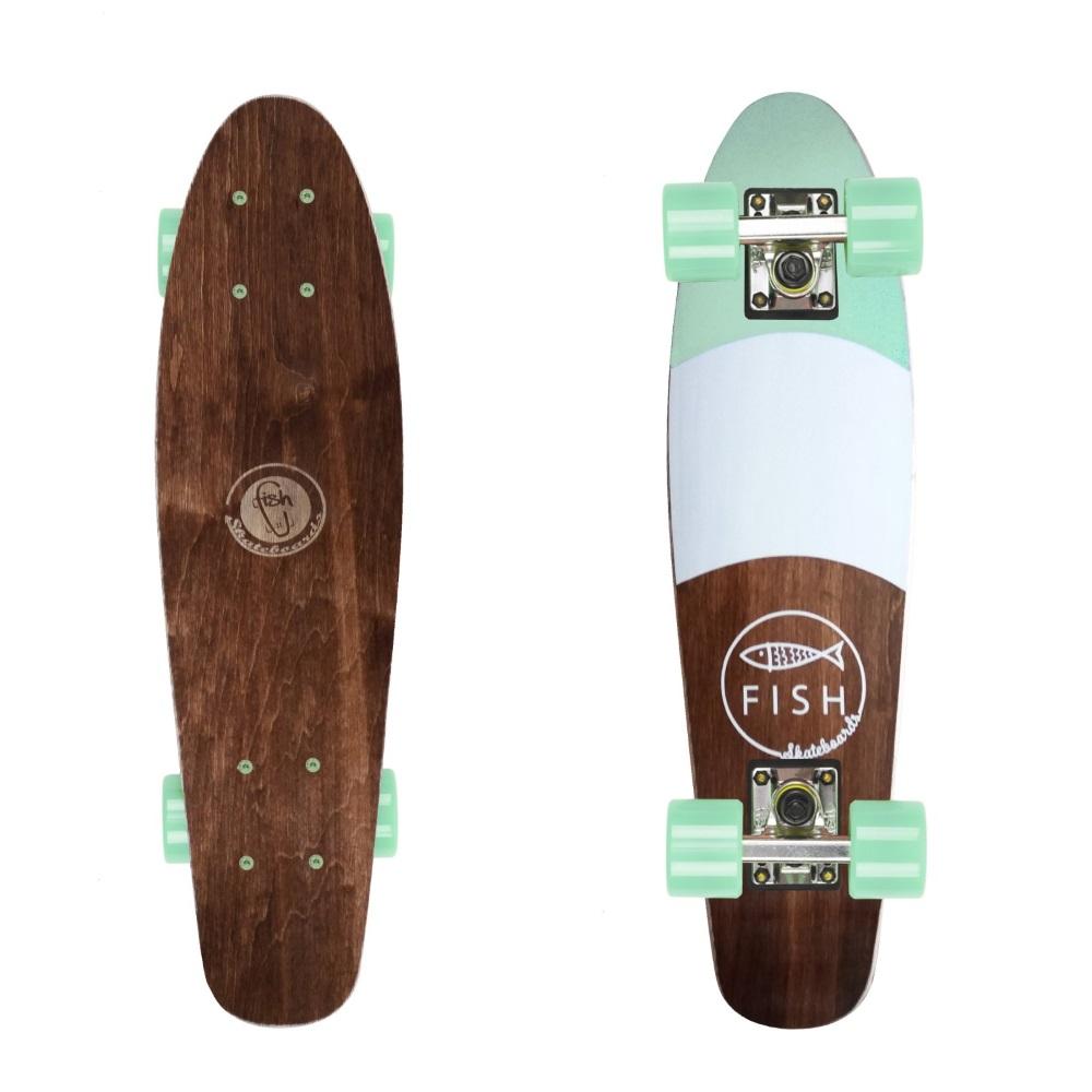 "Drevený pennyboard Fish Classic Wood 22"" Fish-Silver-Summer Green"