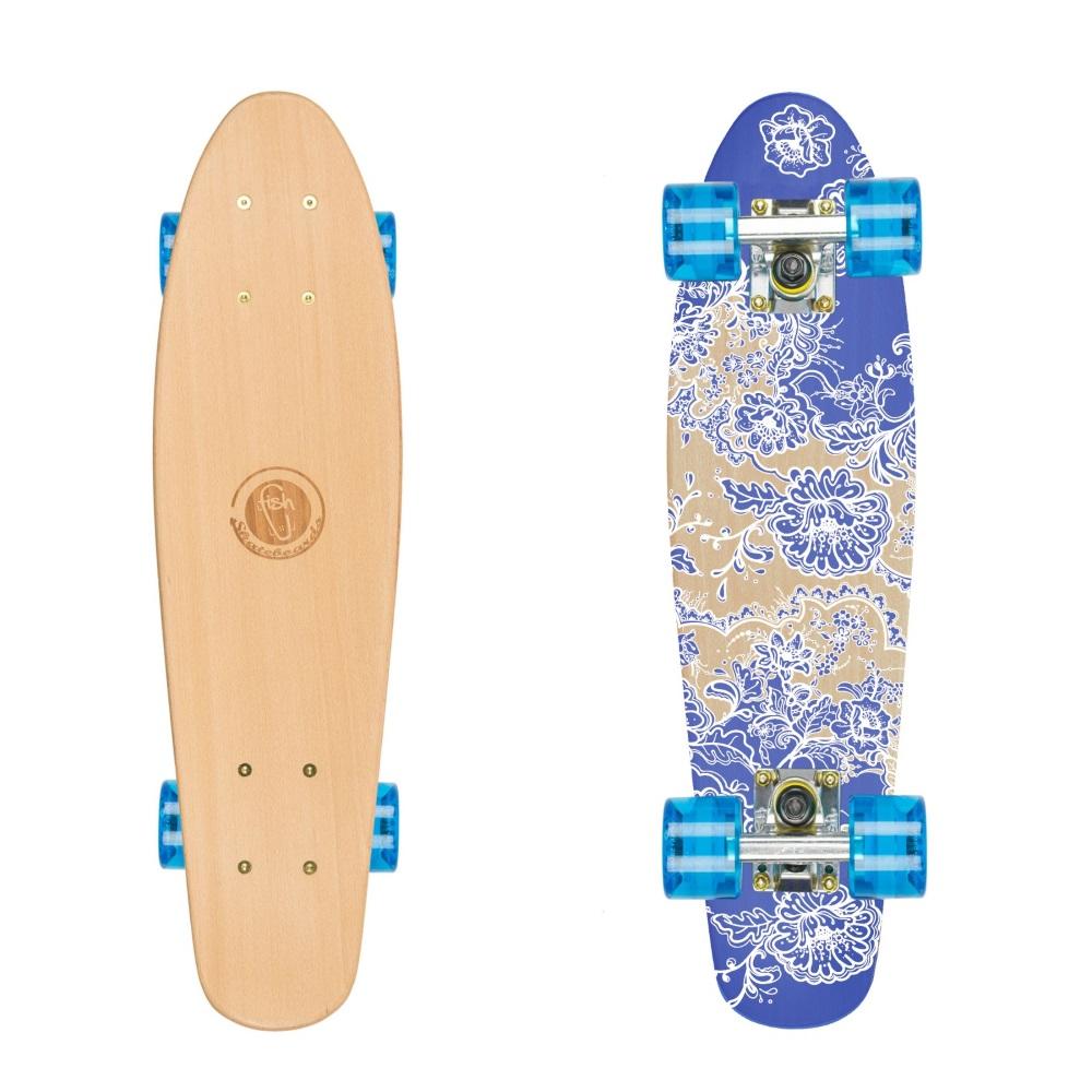 "Drevený pennyboard Fish Classic Wood 22"" Flowers-Silver-Transparent Blue"