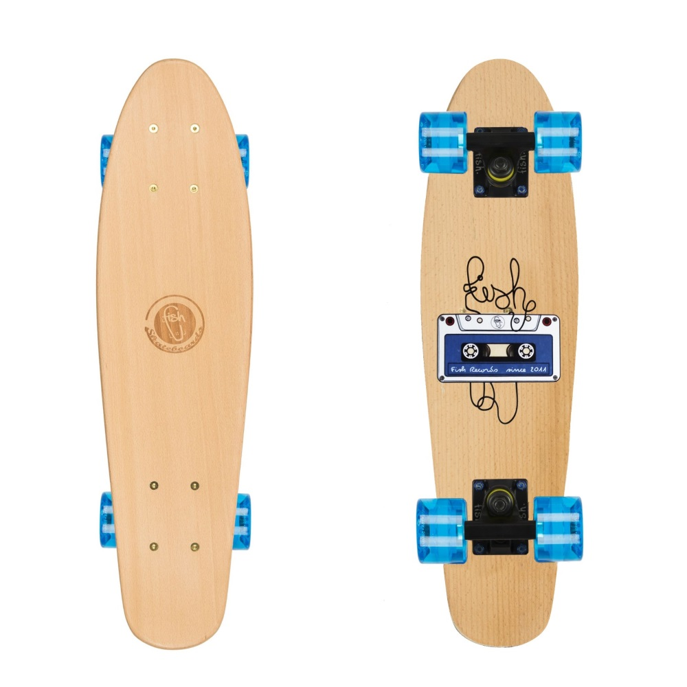 "Drevený pennyboard Fish Classic Wood 22"" Tape-Black-Transparent Blue"