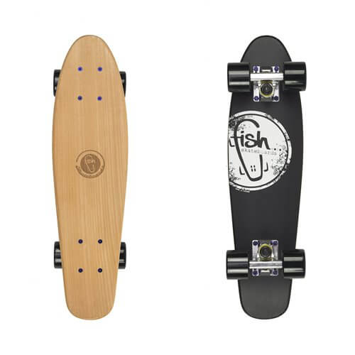 Pennyboard Fish Classic Wood Logo black