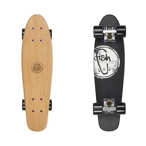 "Drevený pennyboard Fish Classic Wood 22"" Logo black"