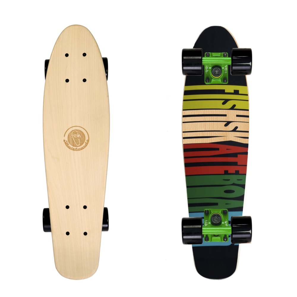 "Drevený pennyboard Fish Classic Wood 22"" 70s-Green-Black"