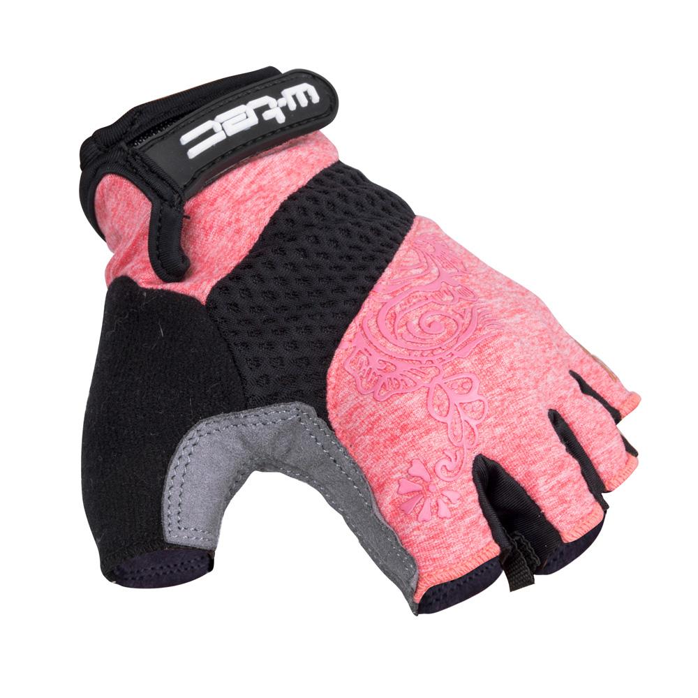 Dámske cyklo rukavice W-TEC Atamac AMC-1038-17 šedo-ružová - XS