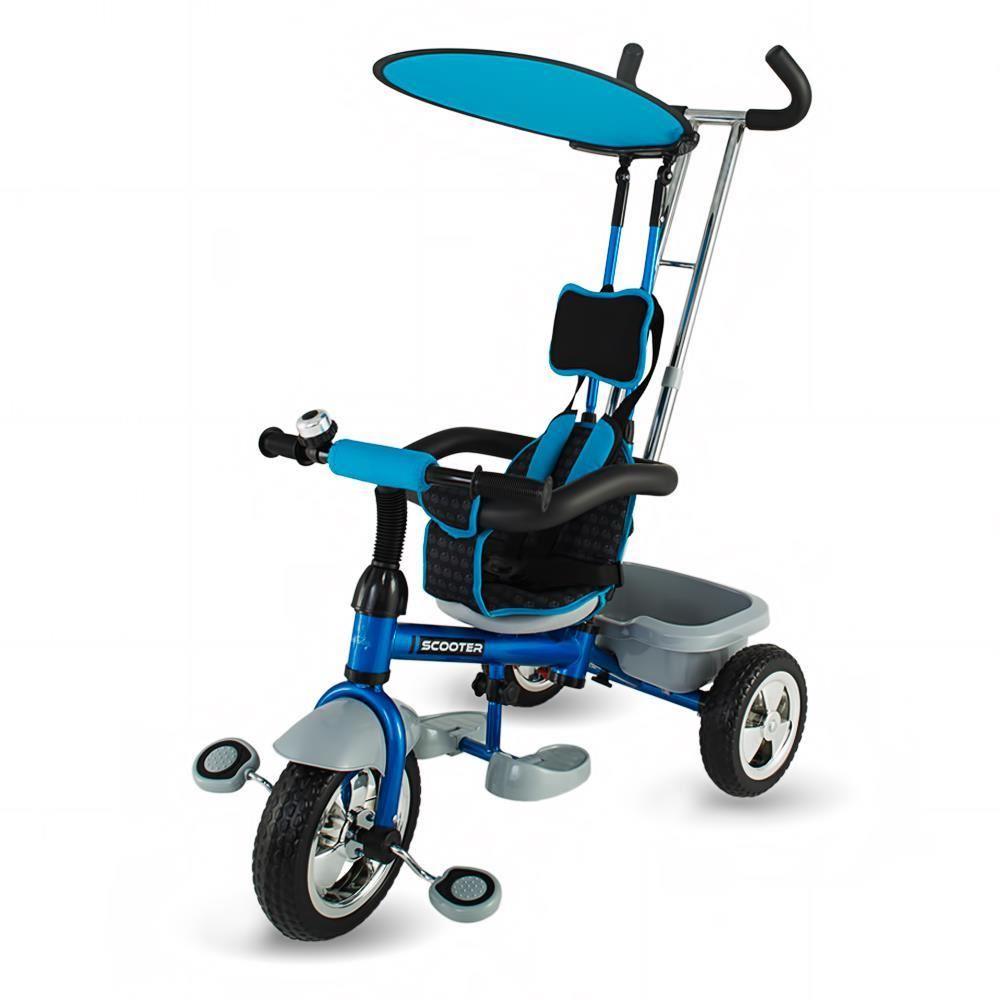Detská trojkolka s vodiacou tyčou DHS Scooter Plus modrá