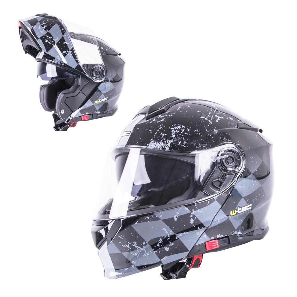 Výklopná moto prilba W-TEC V271 čierno-šedá - XL (61-62)