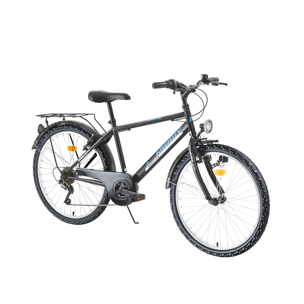 "Juniorský bicykel Kreativ 2413 24"" - model 2016 Black-Green - Záruka 10 rokov"